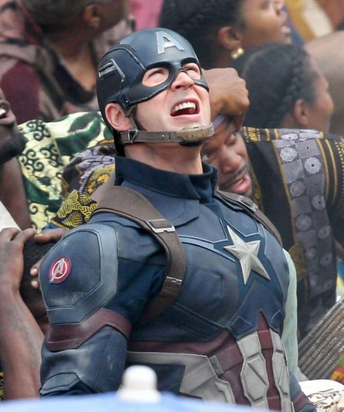 Chris Evans Captain America Civil War set photo