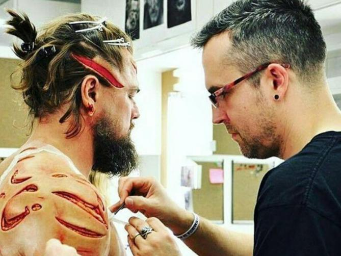 The revenant makeup behind the scenes