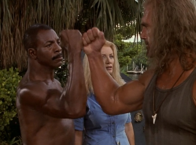 Shadow Warriors Assault on Devils Island Hulk Hogan Carl Weathers Shannon Tweed Fist Bump
