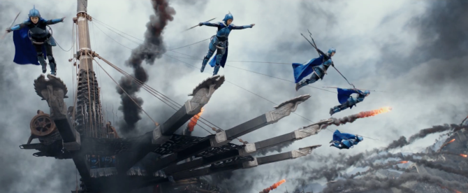 the great wall movie blue acrobats